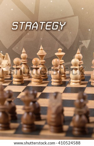 chess board strategy business concept - stock photo