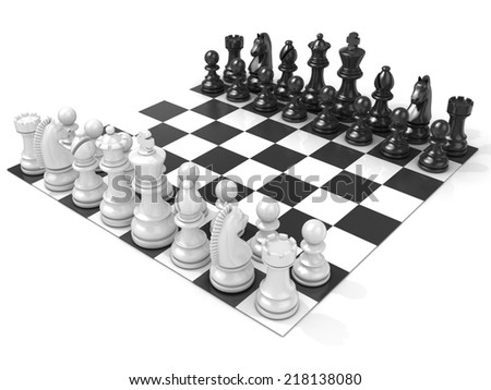 Chess Board with all chess pieces, isolated on white background. Side view - stock photo