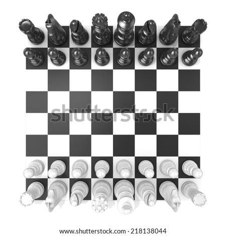 Chess Board with all chess pieces, isolated on white background. Top view - stock photo
