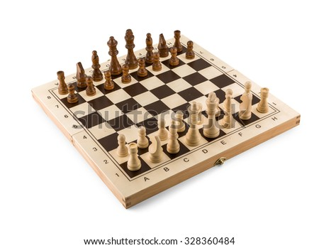 Chess board with chess wooden pieces isolated on white - stock photo