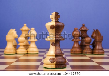 Chess Board with teams of black and white pieces, king is half and half, with jigsaw pattern dividing the two colours. Concepts of corporate merger, joining together, teams working together. - stock photo