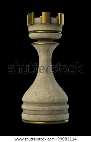 Chess Castle Stone isolated on black background. High resolution. 3D image