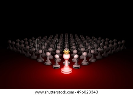 Chess composition. Standing Out from the Crowd. 3D rendering illustration. Black background layout with free text space