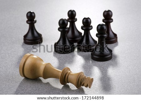 Chess - dead white king with black pawns