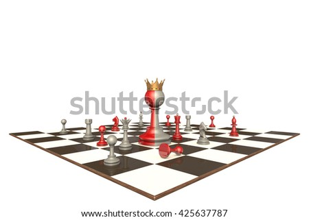 Chess drama on a white background isolation. In the center of a two-faced king. 3D illustration rendering.