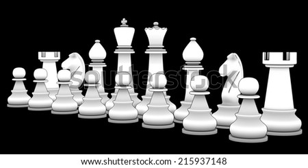 Chess figure. isolated black background. 3d - stock photo