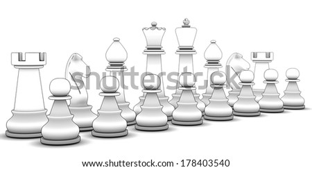 Chess figure. isolated white background. 3d - stock photo