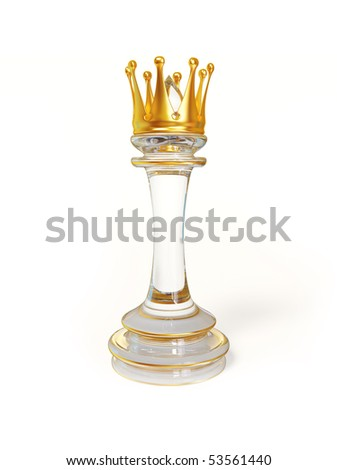 chess figure king with gold crown isolated