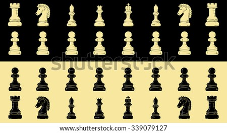 chess figures isolated on different backgrounds. Doodle