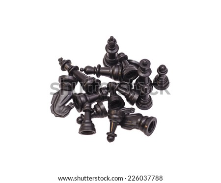 Chess Figures Isolated On White Background - stock photo