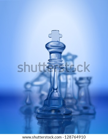 Chess figures, led by King on a blue background. Bitmap copy my vector - stock photo