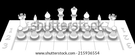chess figures on board. isolated black background. 3d - stock photo
