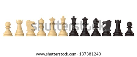 Chess figures set on a white background - stock photo