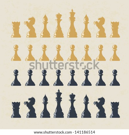 Chess figures set. Raster version, vector file available in my portfolio. - stock photo