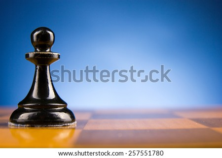 Chess. First step. Copy space for text.  - stock photo