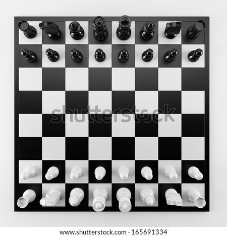 Chess from top view - stock photo