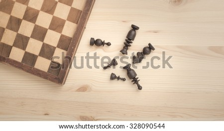 Chess game and pieces. Concept image of business strategy, planning and intelligence. - stock photo