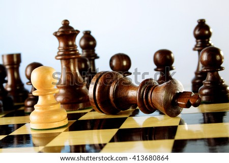 Chess game - Chess king is checkmated - Chess game over - stock photo