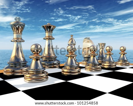 Chess Game Computer generated 3D illustration - stock photo