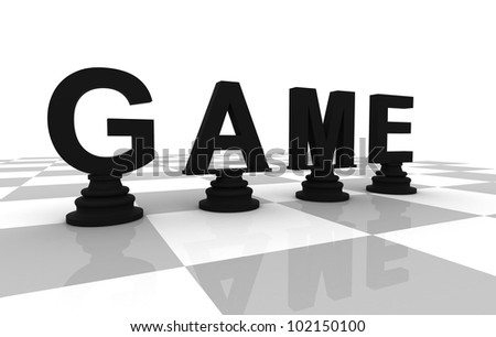 Chess Game 3D font black perspective - stock photo