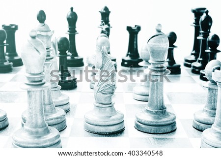 Chess game. Image tinted - stock photo