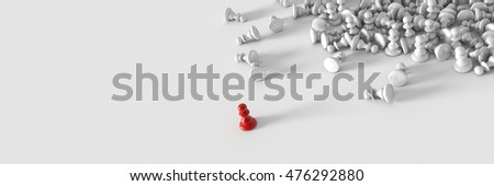 Chess game leadership and competition, 3d rendering with horizontal banner size