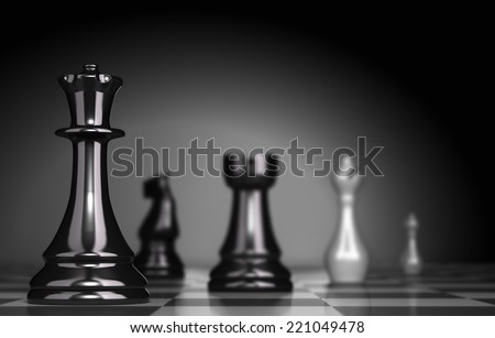 Chess Game over black background, illustration of business strategy or positioning - stock photo
