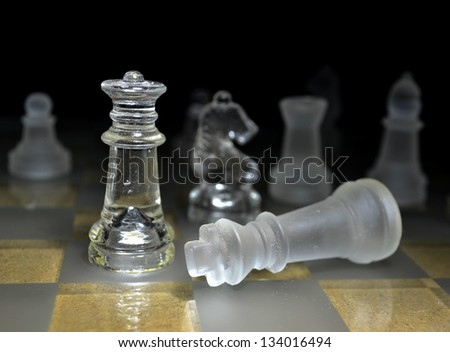 Chess game queen checkmate - stock photo