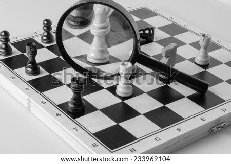 chess game strategy concept photo black and white - stock photo
