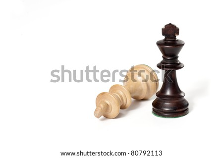 Chess game. White and black king challenging for victory. Isolated on white background. - stock photo