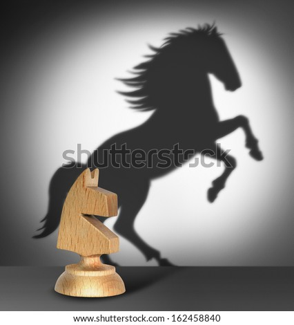 Chess horse with  shadow as a wild horse  - stock photo