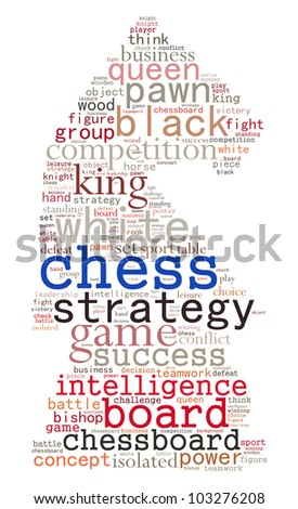Chess info-text graphics and arrangement concept (word cloud) - stock photo