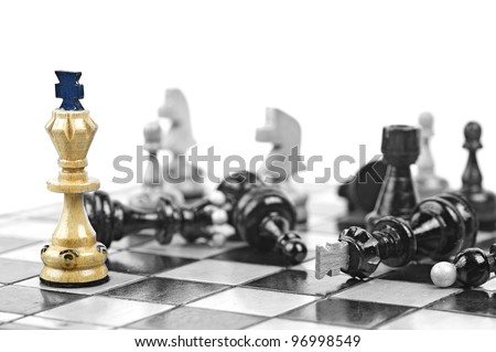 Chess King on color with another pieces in black and white version