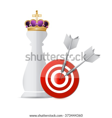 Chess king piece and a target over a white background