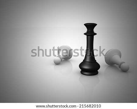 Chess king standing - game over - 3d render