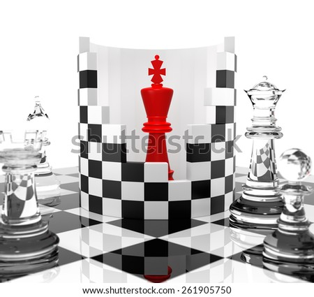 Chess King to Protect. Three Dimensional Rendering - stock photo