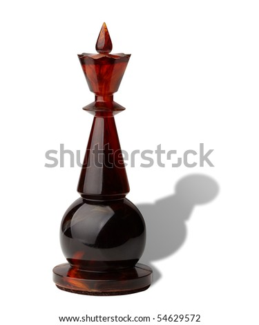 Chess king with pawn's shadow isolated on white background, clipping path included. - stock photo