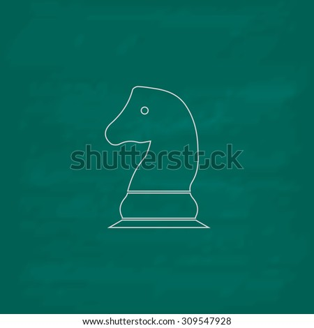 Chess knight. Outline icon. Imitation draw with white chalk on green chalkboard. Flat Pictogram and School board background. Illustration symbol