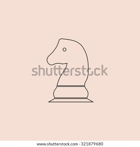 Chess knight. Outline icon. Simple flat pictogram on pink background