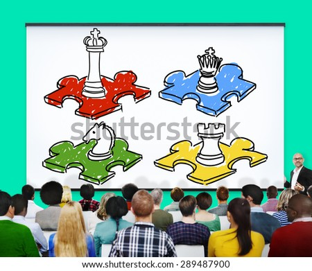 Chess Leisure Game Tactics Strategy Board Game COncept - stock photo