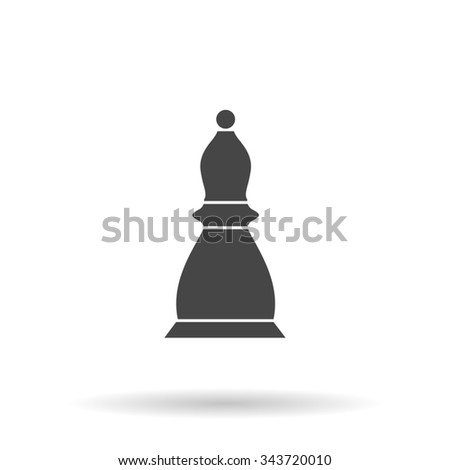 Chess officer. Flat icon on grey background with shadow - stock photo