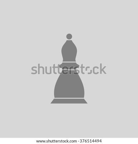 Chess officer. Grey simple flat icon - stock photo