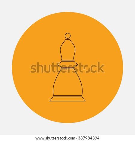 Chess officer. Simple flat icon on orange circle - stock photo