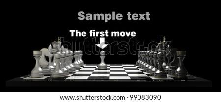 Chess on black blackboard High resolution. 3D image - stock photo
