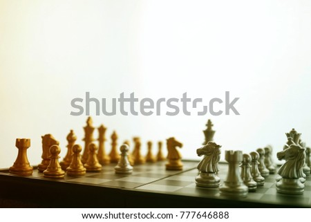 chess on board and blank space for business concept