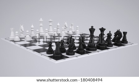 Chess on the chessboard. Render on a gray background - stock photo
