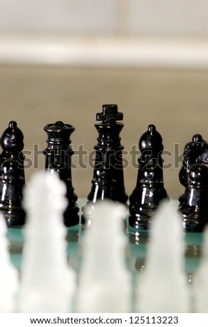 Chess on the table-Game-black and White Chess