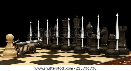 Chess pawn armed with a cannon. Concept. isolated a black background. 3d