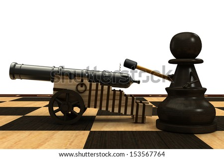 Chess pawn armed with a cannon. isolated. a white background. 3d - stock photo