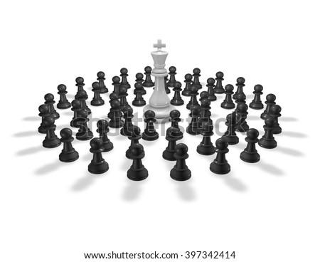 Chess pawn around king piece 3D render. - stock photo